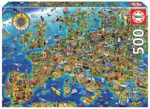 Educa Puzzle 500 dílků - Mapa Evropy 17962
