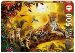 Puzzle EDUCA 500 dílků - Leopard s mláďaty  17736