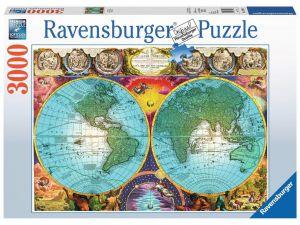 puzzle Ravensburger  3000 dílků -  Antická mapa světa    170746
