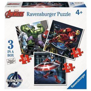 Puzzle Ravensburger 3v1  25, 36 a 49 dílků   Avengers  070046