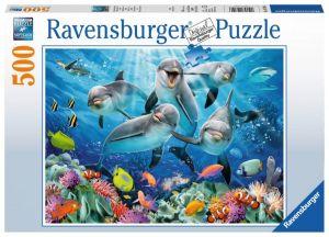 puzzle Ravensburger  500 dílků - Delfíni  -  147106