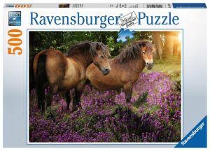 puzzle Ravensburger  500 dílků - Koně ve fialových květinách   -  148134