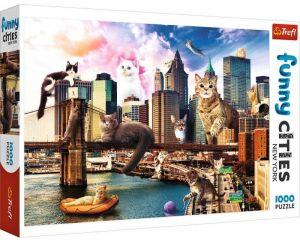 Puzzle Trefl  1000 dílků  - Funny Cities -  Kočky v New Yorku   10595