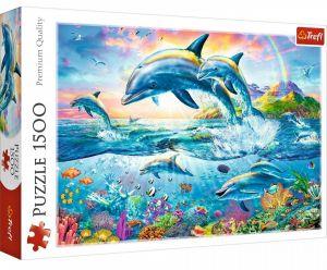 Puzzle Trefl 1500 dílků - Delfíní rodinka -  26162