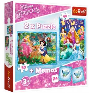 Puzzle Trefl  30 + 48 dílků + hra Memos ( pexeso )  Princezny  90815
