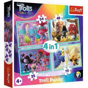 35, 48, 54 a 70  dílků -  4v1  Trolové   -  puzzle   Trefl 34336