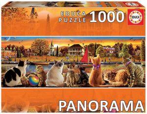 EDUCA Puzzle 1000 dílků panorama - Kočky na nábřeží  18001
