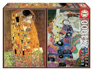 EDUCA Puzzle  2 x 1000 dílků -   Klimt - Polibek + Dívka na plátně  18488