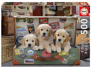 Educa Puzzle 500 dílků - Štěňátka v kufru  17645