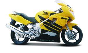 Maisto  motorka na stojánku -  Honda CBR 600F4  1:18  žlutá