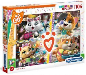 Puzzle Clementoni 104 dílků  - 44 koček  27539