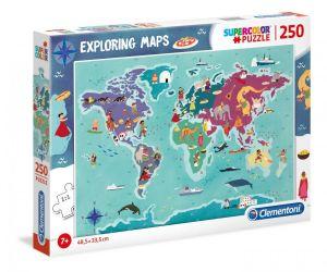 Puzzle Clementoni 250 dílků  - mapa světa 29064