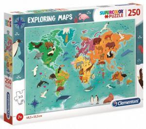 Puzzle Clementoni 250 dílků  - mapa světa animals  29063