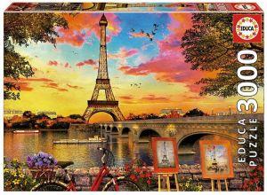 Puzzle EDUCA 3000 dílků - Západ slunce nad Paříží  17675