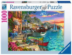 Puzzle Ravensburger 1000 dílků - Řecké nábřeží 152711