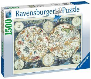 puzzle Ravensburger 1500 dílků  Mapa - fantastická zvířata  160037