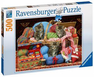 puzzle Ravensburger  500 dílků - Koťátka v košíku - 147854