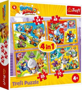 puzzle   Trefl 35, 48, 54 a 70  dílků -  4v1  - Super  Zings  34343