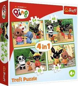 35, 48, 54 a 70  dílků -  4v1 -  puzzle   Trefl   Bing - veselý den   34335