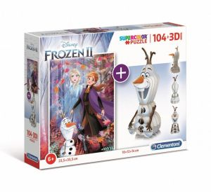 Clementoni puzzle 104 dílků + 3D figurka - Frozen  II   20170