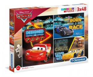Dětské puzzle Clementoni - 3 x 48 dílků - Cars - 25254