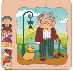 Dřevěné  vrstvové puzzle - dědeček  v brýlích  ( 4 vrstvy )