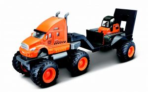 Maisto - tahač s buldozerem  na velkých kolech - oranžový