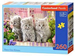 Puzzle Castorland 260 dílků - Tři šedá koťátka  27491
