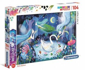 Puzzle Clementoni - 104 dílků  Briliant   -  Pohádková  noc  A Fairy Night 20165