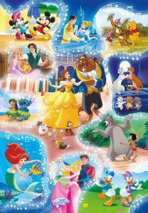 Puzzle Clementoni - 104 dílků Disney - Koláž - Tance v pohádkách 27289