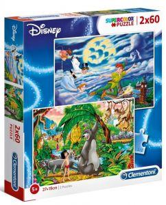 Puzzle Clementoni 2 x 60  dílků  - Disney - Petr Pan a Kniha džunglí     21613
