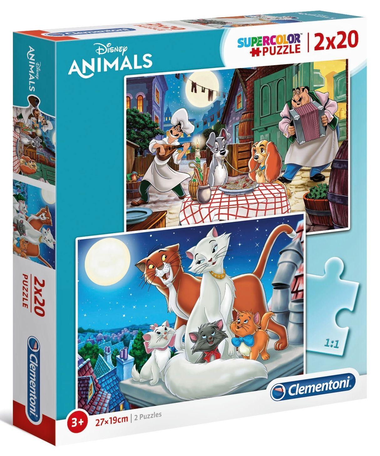 Puzzle Clementoni 2x20 dílků - Lady a Tramp & Aristokočky 24764