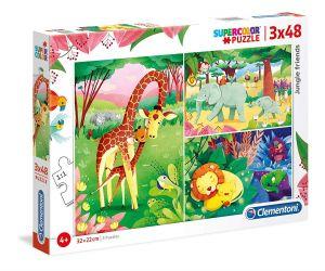 Puzzle Clementoni  - 3 x 48 dílků  - Kamarádi z džungle   25233