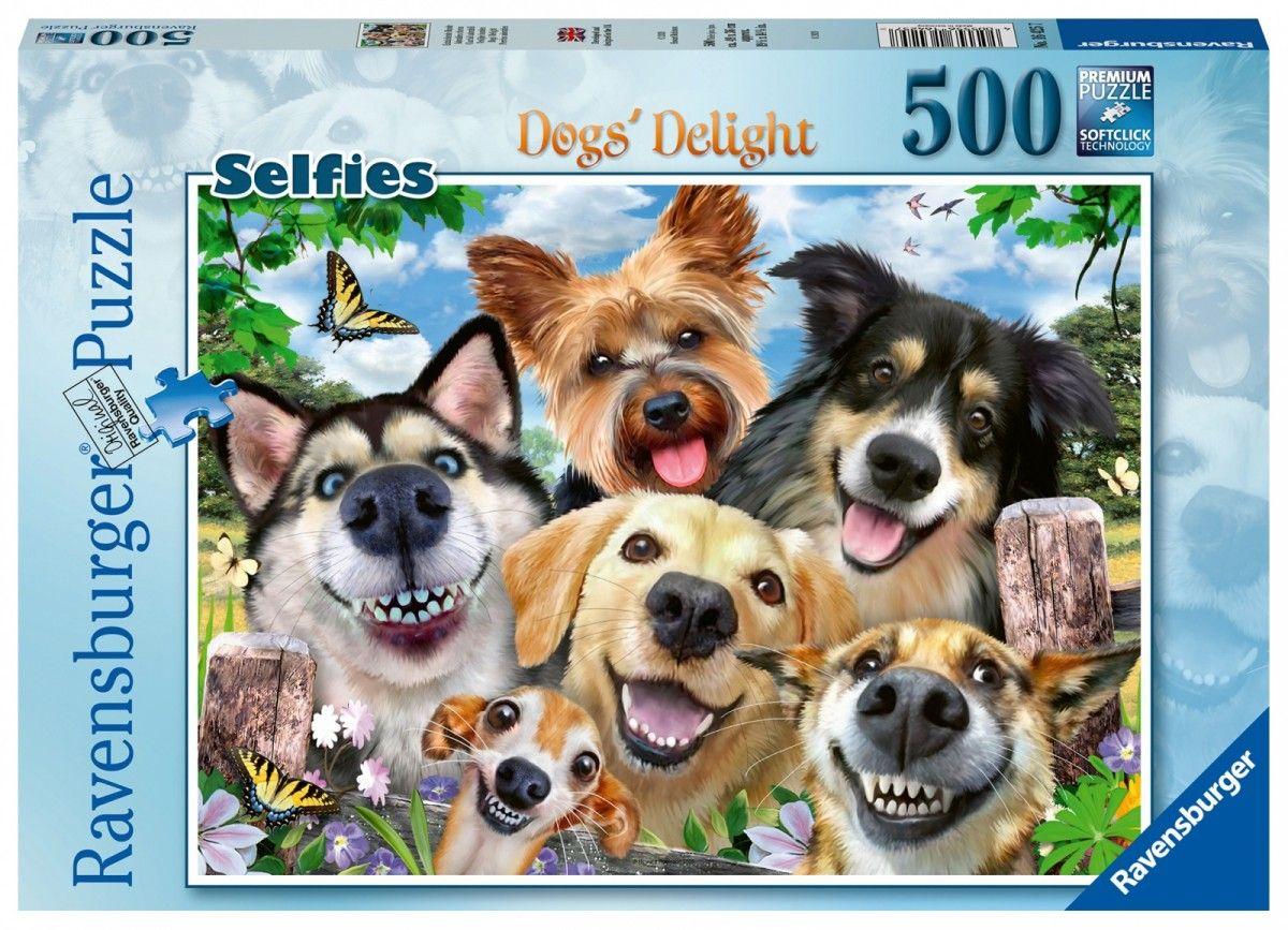 puzzle Ravensburger 500 dílků - Vysmáté selfie psů 164257