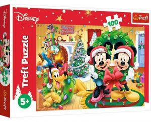 Puzzle Trefl 100 dílků - Mickey - Vánoce  16365