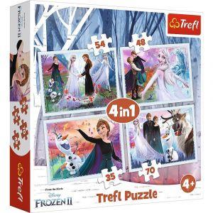 puzzle   Trefl 35, 48, 54 a 70  dílků -  4v1  - Frozen II   34344