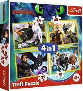 puzzle   Trefl 35, 48, 54 a 70  dílků -  4v1  - Jak vycvičit draka  34341