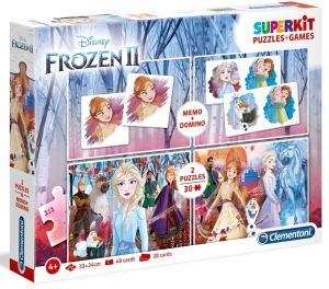 Super Kit  - hry  Clementoni 4v1 ( 2x  puzzle , domino , pexeso ) Frozen II  20241