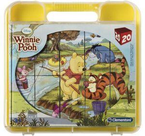 Clementoni - Obrázkové kostky ( kubus ) v kufříku  - 20 kostek -  Medvídek Pů