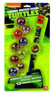 Dětské hodinky - digitální  ( blistr )   - Želvy ninja - s 10 výměnitelnými krytkami