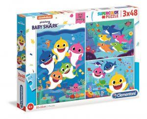 Dětské puzzle Clementoni  - 3 x 48 dílků  -  Baby žraloci  -  Baby Shark  25261