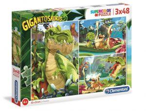 Dětské puzzle Clementoni  - 3 x 48 dílků  -  Gigantosaurus  25249