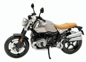 Maisto motorka 1:12 BMW R nineT Scrambler - stříbrná