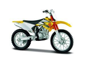Maisto  motorka na stojánku - Suzuki  RM-Z250  1:18 žlutá