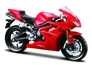 Maisto  motorka na stojánku - Triumph Daytona 675  1:18  červená