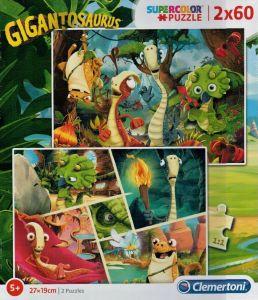 Puzzle Clementoni 2 x 60  dílků  - Gigantosaurus     21614
