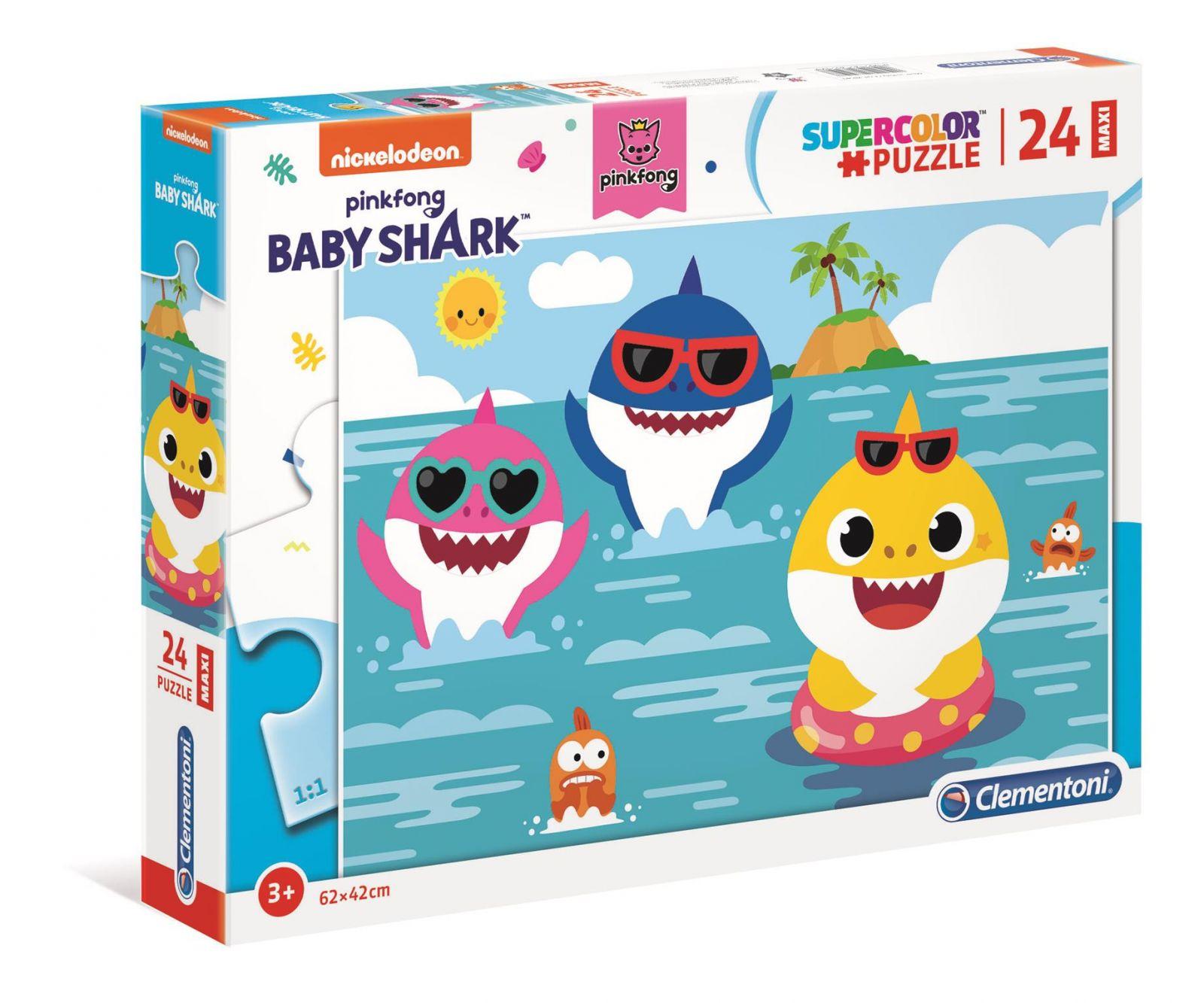 Puzzle Clementoni MAXI - 24 dílků - Baby žraloci - Baby Shark 28519