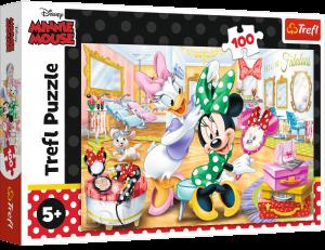 Puzzle Trefl 100 dílků - Minnie v kosmetickém salónu  16387