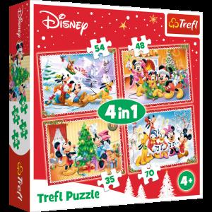 puzzle   Trefl 35, 48, 54 a 70  dílků -  4v1  - Mickey - vánoční pohoda  34325