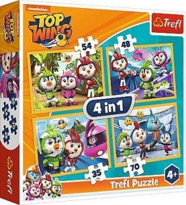 puzzle   Trefl 35, 48, 54 a 70  dílků -  4v1  - Top Wings  34342
